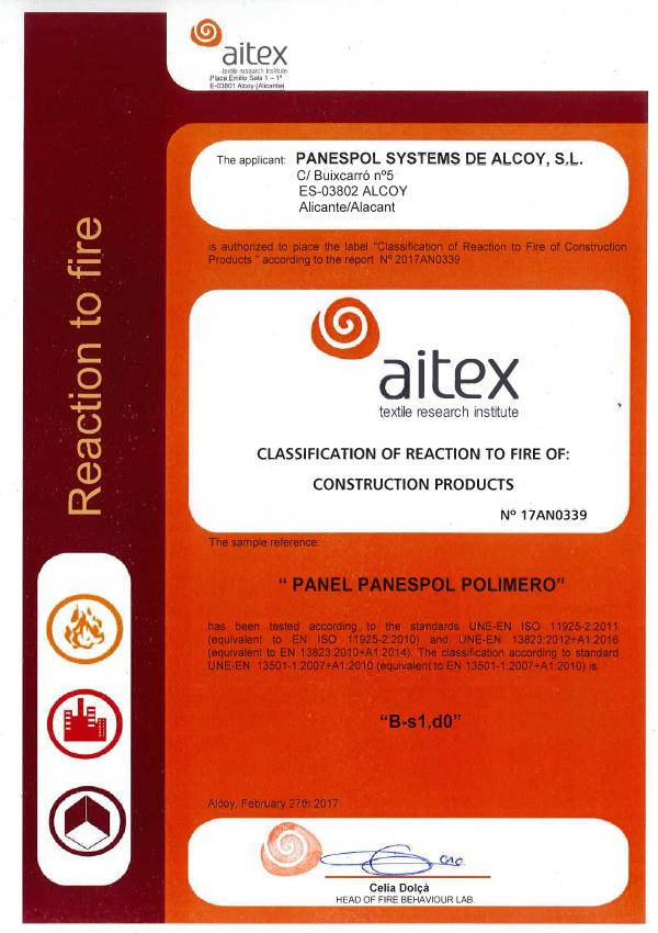 Fireproof certificate PANESPOL