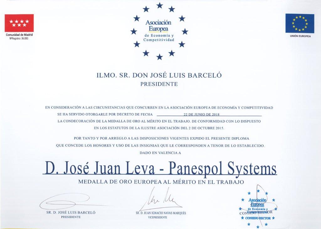 Panespol Systems reçoit la médaille d'or européenne du mérite au travail