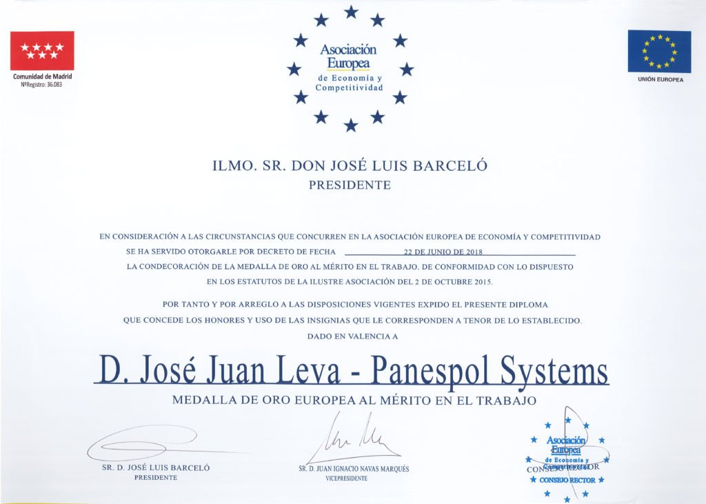 Panespol Systems receives the european gold medal for merit in work